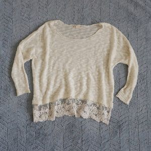 🌿Cream Lace Knit Sweater🌿